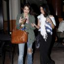 Vanessa Hudgens and pal, Sarah Hyland, dropped by their local Starbucks last night, March 10, in Los Angeles.