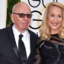 Still going strong! Jerry Hall, 59, hits the Golden Globes red carpet on the arm of 84-year-old Rupert Murdoch - three months after it was revealed they are dating - 11 Jan 2016 - 454 x 199