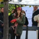 Lily Collins – On the set of 'Emily in Paris' in Paris