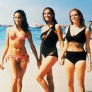 Martine Beswick, Claudine Auger, Luciana Paluzzi on break from filming Thunderball (1965) - 400 x 500