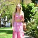 Suki Waterhouse in Pink outfit out in West Hollywood