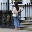 Amy Jackson – In her white blouse top and jeans out and about in Chelsea - 454 x 398
