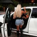 Chloe Ferry – In denim ripped shorts Night Out in Marbella – in Spain - 454 x 532