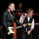 Musicians Roger Daltrey and Bruce Springsteen perform at the 11th Annual Musicares Map Fund Benefit concert at Best Buy Theater on May 28, 2015 in New York City.