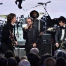 Inductees Ringo Starr and Billie Joe Armstrong of Green Day perform with Sir Paul McCartney and Gary Clark Jr. onstage during the 30th Annual Rock And Roll Hall Of Fame Induction Ceremony at Public Hall on April 18, 2015 in Cleveland, Ohio. - 454 x 320
