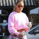 Jennifer Lopez in Pink Patterned Leggings – Out in West Hollywood - 454 x 681
