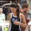 Kendall Jenner raising awareness for Varsity's National School Spirit Day at the Grove, Hollywood (August 25)