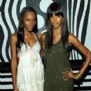 Models Jaunel McKenzie and Quiana Grant attend the alice + olivia by Stacey Bendet M.A.C. Cosmetics collection launch at Beauty Bar on July 14, 2010 in New York City
