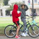 Selena Gomez and Justin Bieber on a bike ride in Los Angeles