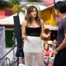 Katharine McPhee On The Set Of Extra In Universal City