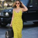 Myleene Klass – In yellow polka dot dress in London