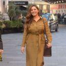 Kelly Brook in Brown Dress at Global Radio studios in London