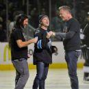 Metallica on the ice to drop the puck on Metallica Night At The San Jose Sharks Game on January 21, 2015 in San Jose, California