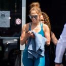 Jennifer Lopez in Blue Gym Outfit – Outside a gym in Miami - 454 x 684