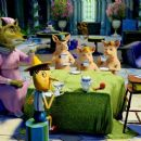 The Big Bad Wolf (voice by Aron Warner), Three Little Pigs (voice by Cody Cameron), Gingerbread Man (voice by Conrad Vernon) and Pinocchio (voice by Cody Cameron) are rudely interrupted mid-tea party in DreamWorks' SHREK THE THIRD, to be released by - 454 x 255