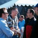 Producer Bradley Thomas, Jim Carrey with directors/co-screenwriters Bobby Farrelly and Peter Farrelly on the set of 20th Century Fox's Me, Myself & Irene - 2000