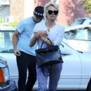 Pamela Anderson out for dinner with her son Brandon Lee in Malibu, California on June 30, 2014