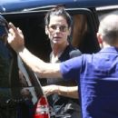 'Gravity' actress Sandra Bullock picks up her son Louis from school in Los Angeles, California on August 9, 2013
