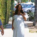 Eva Longoria in White Dress for her baby shower in LA - 454 x 683
