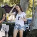 Lily Collins in Jeans Shorts and Charlie Mcdowell – Out in Los Feliz - 454 x 720