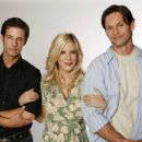 Philipp Karner as Matt, Tori Spelling as Alex and James O'Shea as Ryan in Kiss the Bride.