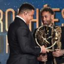 Brazil legend Ronaldo presents Neymar with Ligue 1 Player of the Year award as he pips team-mates Edinson Cavani and Kylian Mbappe to prize despite playing less games - 454 x 277