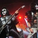 Gene Simmons and Paul Stanley of US rock group Kiss perform live on stage, for a one-off Independence Day show as a fundraiser for the Help for Heroes charity, at The Kentish Town Forum on July 4, 2012 in London, England