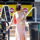 Jenna Dewan in Pink Dress – Arriving at movie set in Los Angeles