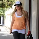 Hilary Duff: leaving her personal trainer's home in Los Angeles
