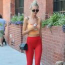 Hailey Clauson in Red Tights – Walking her dog in New York - 454 x 680