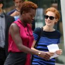 Jessica Chastain and Viola Davis on the set of