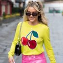 Ashley Roberts – In pink leather pants and yellow leaving the Heart Radio Studios in London - 454 x 682