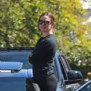 Jennifer Garner in Tights at a drive-by birthday party in Pacific Palisades