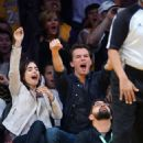 Lily Collins and Thomas Cocquerel at the L.A Lakers VS. Chicago Bulls Game (Sunday, February 9th, 2014)