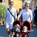 Neil Patrick Harris and David Burka taking the twins for a stroll in St. Tropez (August 2)