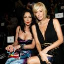 Apollonia Kotero and adult film star Jenna Jameson in the front row at the Pussycat Dolls by Robin Antin Fall 2008 fashion show during Mercedes-Benz Fashion Week held at Smashbox Studios on March 13, 2008 in Culver City