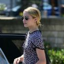 Dianna Agron in a print dress out in Los Angeles