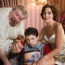 (L-r) RICHARD GRIFFITHS as Uncle Vernon, HARRY MELLING as Dudley Dursley and FIONA SHAW as Aunt Petunia in Warner Bros. Pictures' fantasy 'Harry Potter and the Order of the Phoenix.' Photo by Murray Close