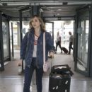 Suki Waterhouse at Heathrow Airport in London