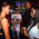 Hamilton at the after-race party with girlfriend Nicole Scherzinger and singer Estelle