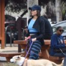 Jenna Dewan with her dog out in Studio City