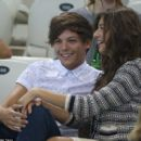 Louis Tomlinson and his girlfriend, Eleanor, were seen at the Aquatics Centre in Greenwich, England today, August 11