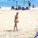 Alessandra Ambrosio in Black Bikini at the beach in Los Angeles - 454 x 478