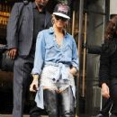 "Rihanna leaving her London hotel to head to studios to film an appearance on the ""Jonathan Ross Show"