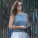 Minka Kelly in Long Skirt with her dogs in Hollywood - 454 x 680