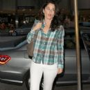 Celebrities dine out at Madeo Restaurant in West Hollywood, California on May 23, 2013. Pictured: Robin Tunney