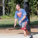 Adam Sandler was spotted playing basketball with his friends in Brentwood, California on October 15, 2016 - 440 x 600