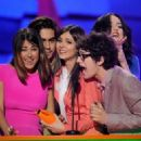 Victoria Justice and fellow cast members from 'Victorious' onstage at Nickelodeon's 25th Annual Kids' Choice Awards held at Galen Center on March 31, 2012 in Los Angeles, California