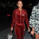 Karrueche Tran wears a Velvet Red Track suit in Beverly Hills - 454 x 709