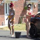 Jemma Lucy and Laura Alicia Summers in Bikini – Car Washing in Manchester - 454 x 444